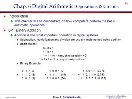 Digital Systems © Korea Univ. of Tech. & Edu. Dept. of Info. & Comm. Chap. 6 Digital Arithmetic 6-1 Chap. 6 Digital Arithmetic: Operations & Circuits n.