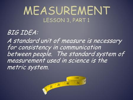 MEASUREMENT LESSON 3, PART 1 BIG IDEA: A standard unit of measure is necessary for consistency in communication between people. The standard system of.
