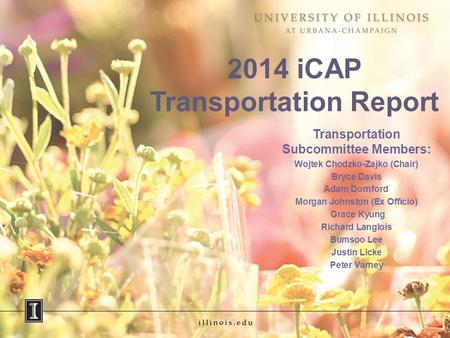 2014 iCAP Transportation Report Transportation Subcommittee Members: Wojtek Chodzko-Zajko (Chair) Bryce Davis Adam Dornford Morgan Johnston (Ex Officio)