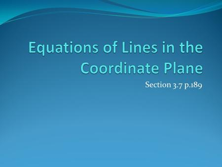 Equations of Lines in the Coordinate Plane