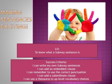 LO: To know what a Subway sentence is Success Criteria: I can write my own Subway sentences I can add an embedded clause I can remember to use the correct.