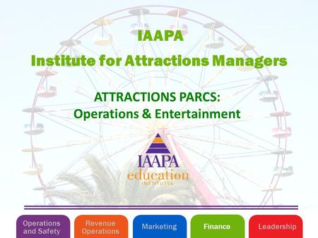 Institute for Attractions Managers IAAPA Operations and Safety MarketingLeadershipFinance Revenue Operations ATTRACTIONS PARCS: Operations & Entertainment.