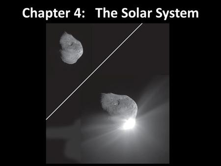 Chapter 4: The Solar System. Early astronomers knew about the Moon, stars, Mercury, Venus, Mars, Jupiter, Saturn, comets, and meteors. Now known: Solar.