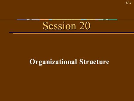 11-1 Session 20 Organizational Structure. 11-2 Learning Objectives 1.Identify five traditional organizational structures and the pros and cons of each.