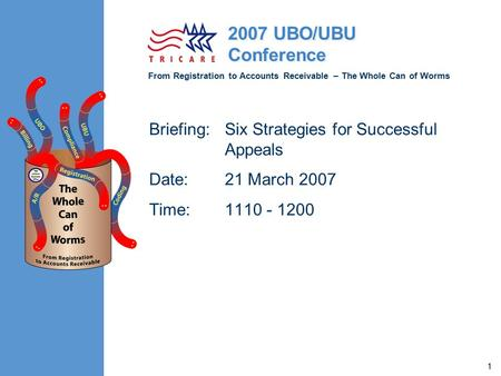 From Registration to Accounts Receivable – The Whole Can of Worms 2007 UBO/UBU Conference 1 Briefing:Six Strategies for Successful Appeals Date:21 March.