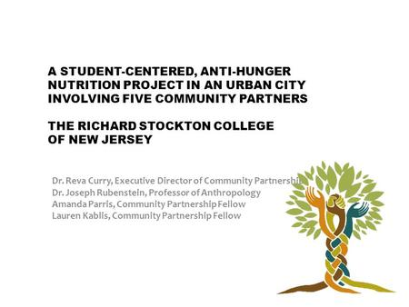 A STUDENT-CENTERED, ANTI-HUNGER NUTRITION PROJECT IN AN URBAN CITY INVOLVING FIVE COMMUNITY PARTNERS THE RICHARD STOCKTON COLLEGE OF NEW JERSEY Dr. Reva.