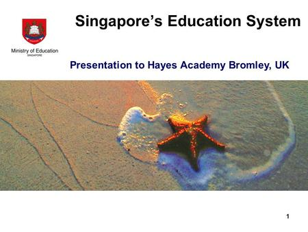 Singapore's Education System Presentation to Hayes Academy Bromley, UK 1.