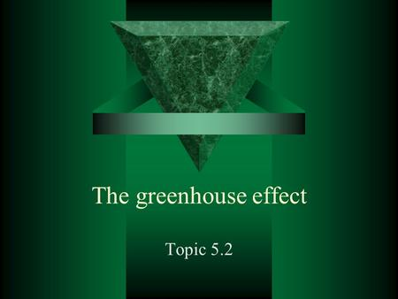 The greenhouse effect Topic 5.2.