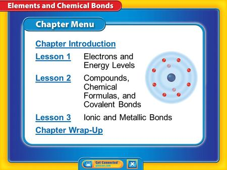 Chapter Menu Chapter Introduction Lesson 1Lesson 1Electrons and Energy Levels Lesson 2Lesson 2Compounds, Chemical Formulas, and Covalent Bonds Lesson.