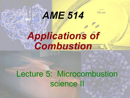 AME 514 Applications of Combustion Lecture 5: Microcombustion science II.
