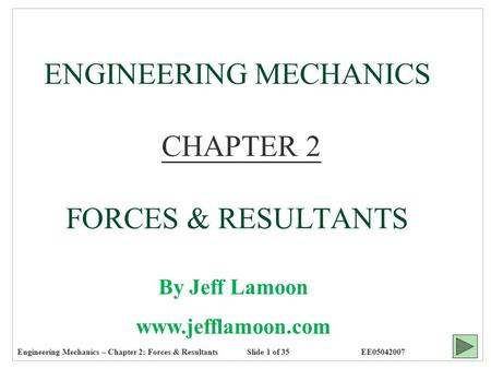 Engineering Mechanics – Chapter 2: Forces & ResultantsEE05042007 ENGINEERING MECHANICS CHAPTER 2 FORCES & RESULTANTS By Jeff Lamoon www.jefflamoon.com.