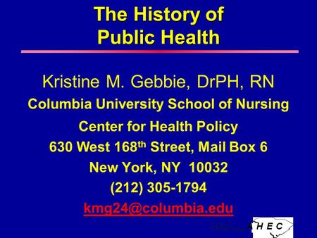 The History of Public Health