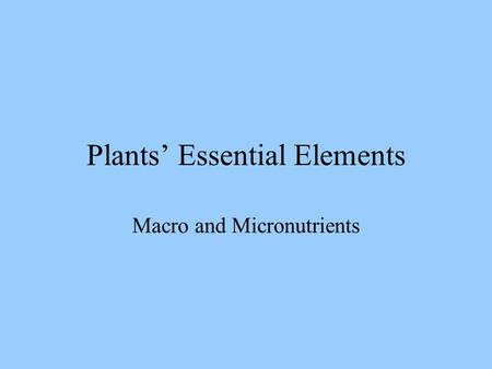 Plants' Essential Elements