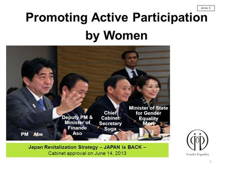 Promoting Active Participation by Women 1 Japan Revitalization Strategy – JAPAN is BACK – Cabinet approval on June 14, 2013 PM Abe Deputy PM & Minister.