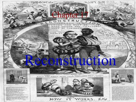 Chapter 17 Reconstruction. 1. The Aftermath 2. Problems: The South Freedmen Leadership 3. President Andrew Johnson 4. Power Struggle: Johnson vs. Congress.