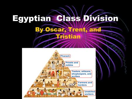 Egyptian Class Division By Oscar, Trent, and Tristian.