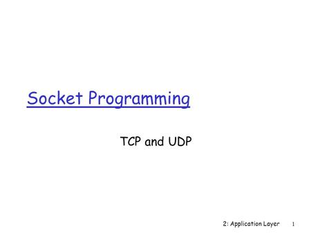 2: Application Layer 1 Socket Programming TCP and UDP.