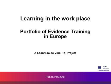 Learning in the work place Portfolio of Evidence Training in Europe A Leonardo da Vinci ToI Project.
