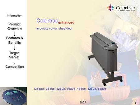 Information ProductOverview Features & Benefits TargetMarket Competition 2003 1 Colortrac enhanced accurate colour sheet-fed Models: 3640e, 4260e, 3680e,