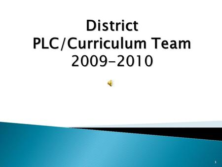 1 District PLC/Curriculum Team 2009-2010  To provide a liaison between the PLC teams and the Admin SIPPLC team  Revise and align K-12 curriculum to.