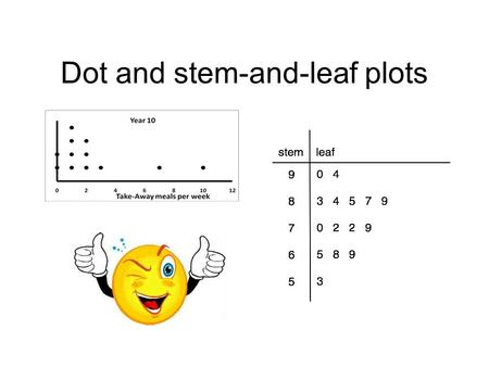 Dot and stem-and-leaf plots. Stem-and-leaf plots A stem-and-leaf plot is a graph that shows the shape of the data according to the data place. How do.
