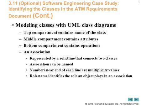  2008 Pearson Education, Inc. All rights reserved. 1 3.11 (Optional) Software Engineering Case Study: Identifying the Classes in the ATM Requirements.