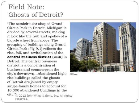 "Field Note: Ghosts of Detroit? © 2012 John Wiley & Sons, Inc. All rights reserved. ""The semicircular shaped Grand Circus Park in Detroit, Michigan is divided."