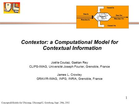 Concepts&Models for Ubicomp, Ubicomp02, Goteborg, Sept. 29th, 2002 1 Contextor: a Computational Model for Contextual Information Joëlle Coutaz, Gaëtan.