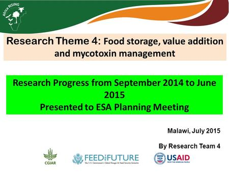 Research Theme 4: Food storage, value addition and mycotoxin management Research Progress from September 2014 to June 2015 Presented to ESA Planning Meeting.