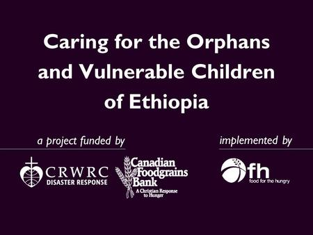 Caring for the Orphans and Vulnerable Children of Ethiopia implemented by a project funded by.