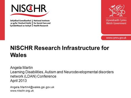 NISCHR Research Infrastructure for Wales Angela Martin Learning Disabilities, Autism and Neurodevelopmental disorders network (LDAN) Conference April 2013.