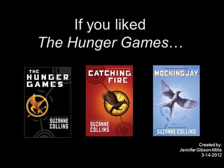 If you liked The Hunger Games… Created by: Jennifer Gibson-Millis 3-14-2012.