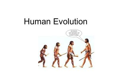 Human Evolution GO BACK. WE MESSED UP EVERYTHING!.