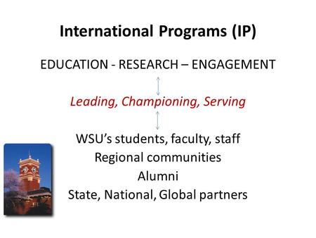 International Programs (IP) EDUCATION - RESEARCH – ENGAGEMENT Leading, Championing, Serving WSU's students, faculty, staff Regional communities Alumni.
