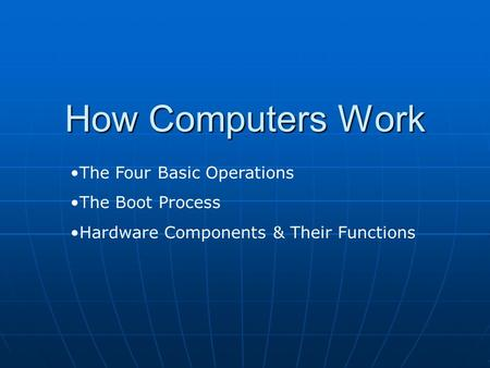 How Computers Work The Four Basic Operations The Boot Process Hardware Components & Their Functions.