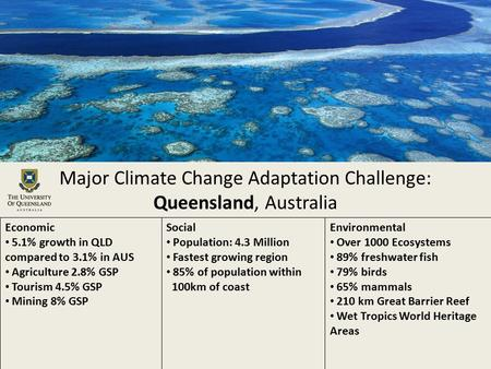 Major Climate Change Adaptation Challenge: Queensland, Australia Economic 5.1% growth in QLD compared to 3.1% in AUS Agriculture 2.8% GSP Tourism 4.5%