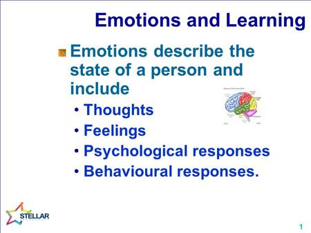 1 Emotions and Learning Emotions describe the state of a person and include Thoughts Feelings Psychological responses Behavioural responses.