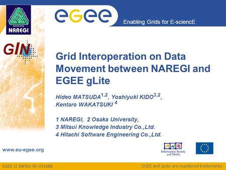 EGEE-II INFSO-RI-031688 Enabling Grids for E-sciencE www.eu-egee.org EGEE and gLite are registered trademarks GINGIN Grid Interoperation on Data Movement.