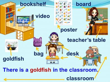 Poster bookshelfboard teacher's table video desk goldfish bag classroom There is a goldfish in the classroom.