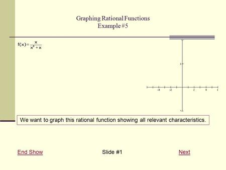 Graphing Rational Functions Example #5 End ShowEnd ShowSlide #1 NextNext We want to graph this rational function showing all relevant characteristics.