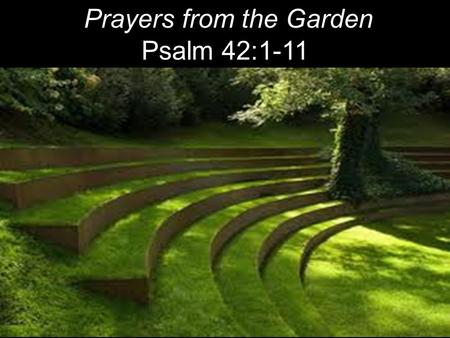 "Prayers from the Garden Psalm 42:1-11 9 I will say to God my Rock, ""Why have You forgotten me? Why do I go mourning because of the oppression of the enemy?"""