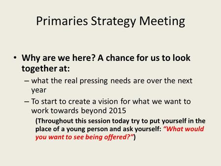 Primaries Strategy Meeting Why are we here? A chance for us to look together at: – what the real pressing needs are over the next year – To start to create.