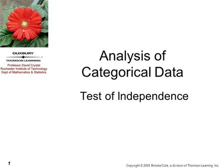 1 Copyright © 2005 Brooks/Cole, a division of Thomson Learning, Inc. Analysis of Categorical Data Test of Independence.