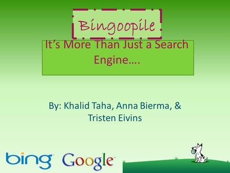 Bingoopile It's More Than Just a Search Engine…. By: Khalid Taha, Anna Bierma, & Tristen Eivins.