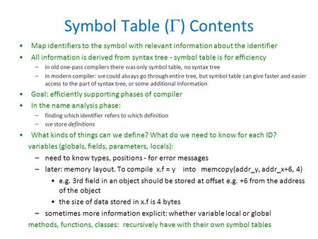 Symbol Table (  ) Contents Map identifiers to the symbol with relevant information about the identifier All information is derived from syntax tree -