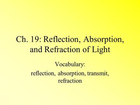 Ch. 19: Reflection, Absorption, and Refraction of Light
