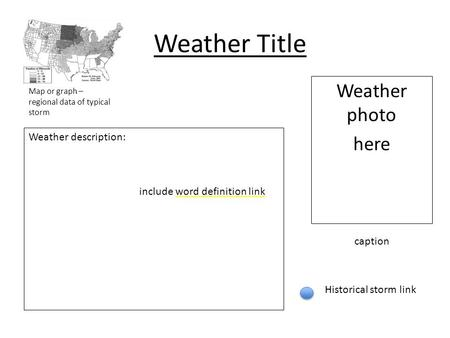 Weather Title Weather photo here Weather description: include word definition link Historical storm link Map or graph – regional data of typical storm.