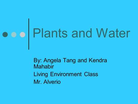 Plants and Water By: Angela Tang and Kendra Mahabir Living Environment Class Mr. Alverio.