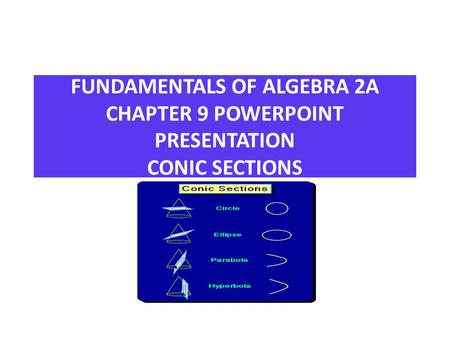 FUNDAMENTALS OF ALGEBRA 2A CHAPTER 9 POWERPOINT PRESENTATION CONIC SECTIONS CONIC SECTIONS.