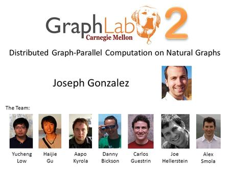 Joseph Gonzalez Yucheng Low Aapo Kyrola Danny Bickson Joe Hellerstein Alex Smola Distributed Graph-Parallel Computation on Natural Graphs Haijie Gu The.